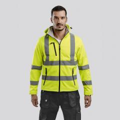 Męska kurtka typu softshell o wysokiej widoczności dla mężczyzn, z odpinanym kapturem ZAGREB WORK