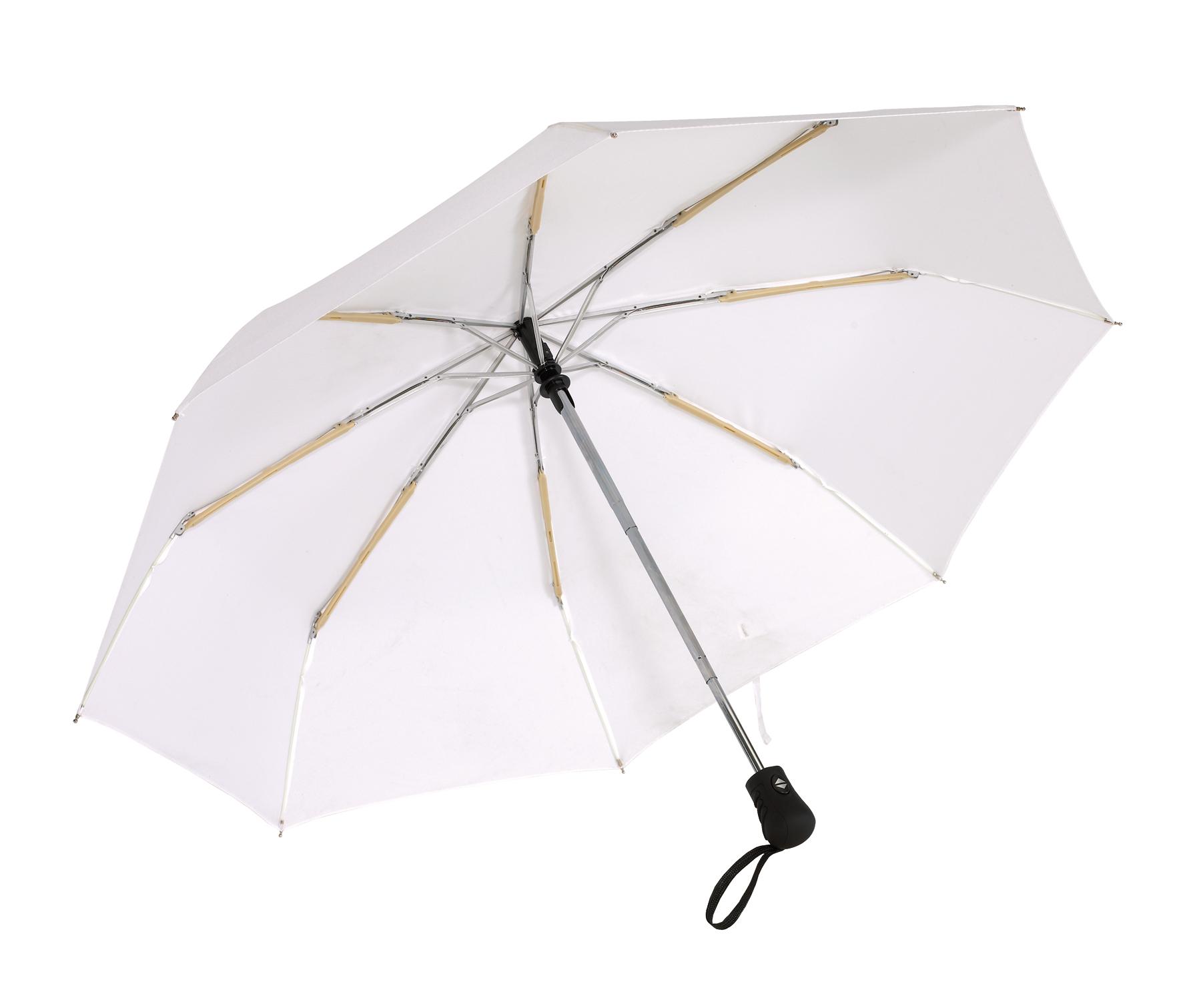 Automatyczny, wiatroodporny, kieszonkowy parasol BORA, biały