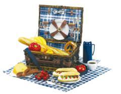 Kosz piknikowy CENTRAL PARK, biało, niebieski