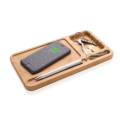 Bambusowa ładowarka bezprzewodowa 5W i organizer na biurko