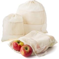 Worki na owoce i warzywa z bawełny organicznej, 3 szt.