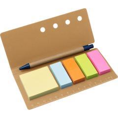 Zestaw do notatek, linijka, Karteczki samoprzylepne, Długopis reklamowy
